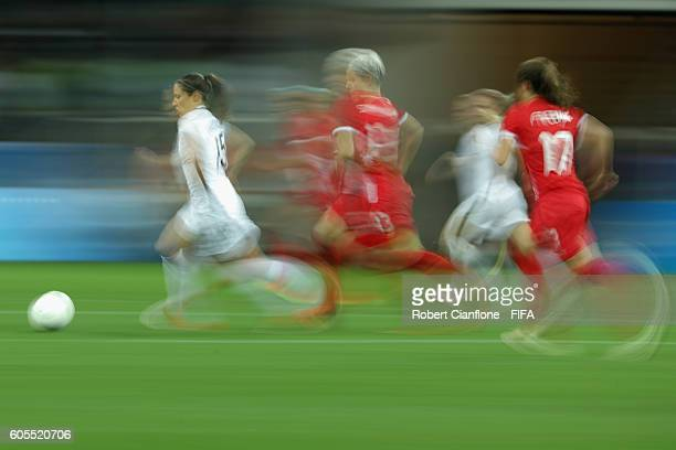 Elise Bussaglia of France runs with the ball during the Women's Football Quarter Final match between Canada and France on Day 7 of the Rio 2016...