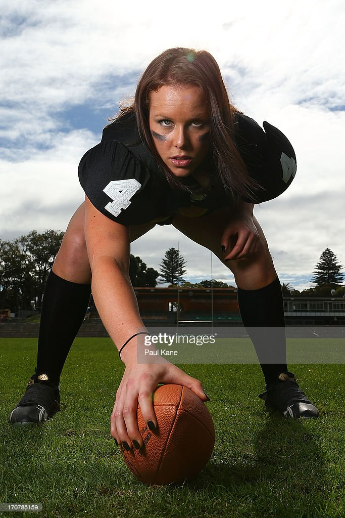 Elise Chapman of the Western Australian Angels poses during a Legends Football League (LFL) media day at nib Stadium on June 18, 2013 in Perth, Australia.