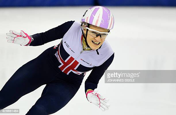 Elise Christie of Britain reacts after winning in the women's 500m final at the ISU World Cup Short Track speed skating event in Shanghai December 10...