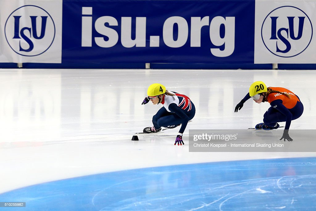 <a gi-track='captionPersonalityLinkClicked' href=/galleries/search?phrase=Elise+Christie&family=editorial&specificpeople=4113885 ng-click='$event.stopPropagation()'>Elise Christie</a> of Great Britain ad Lara van Ruijven of Netherlands compete during the ladies 500m semifinal heat two during Day 3 of ISU Short Track World Cup at Sportboulevard on February 14, 2016 in Dordrecht, Netherlands.