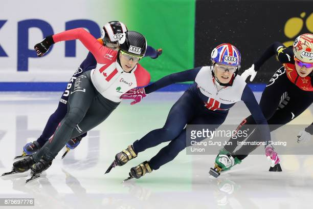 Elise Christie of Great Britain and Marianne StGelais of Canada compete in the Ladies 500m Semifinals during the Audi ISU World Cup Short Track Speed...