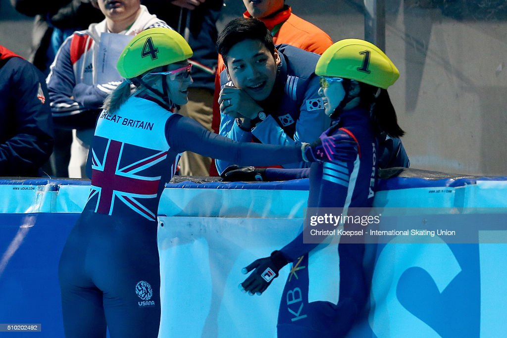 <a gi-track='captionPersonalityLinkClicked' href=/galleries/search?phrase=Elise+Christie&family=editorial&specificpeople=4113885 ng-click='$event.stopPropagation()'>Elise Christie</a> of Great Britain and Minjeong Choi of Korea congratulate each other after the ladies 500m final A during Day 3 of ISU Short Track World Cup at Sportboulevard on February 14, 2016 in Dordrecht, Netherlands.