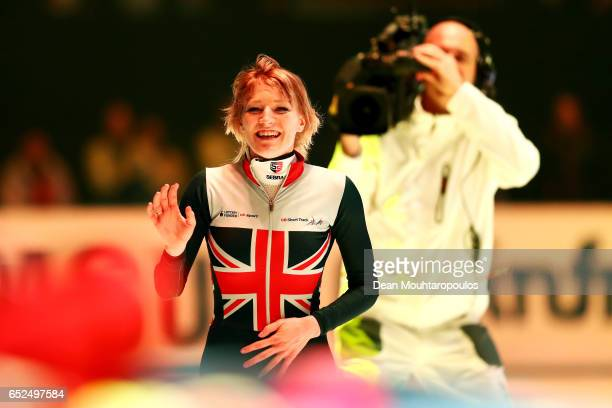 Elise Christie of Great Britain celebrates after she competes on day two in the 3000m Ladies Super Final at ISU World Short track Speed Skating...