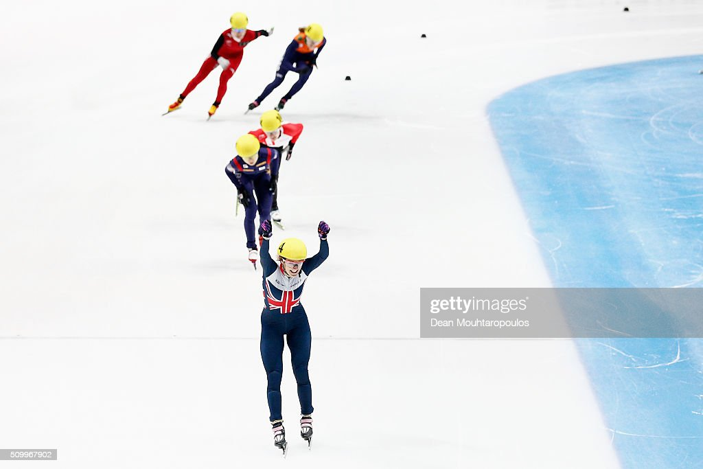 <a gi-track='captionPersonalityLinkClicked' href=/galleries/search?phrase=Elise+Christie&family=editorial&specificpeople=4113885 ng-click='$event.stopPropagation()'>Elise Christie</a> of Great Britain celebrates as she crosses the finish line to win the gold medal in the womens 1000m final during ISU Short Track Speed Skating World Cup held at The Sportboulevard on February 13, 2016 in Dordrecht, Netherlands.