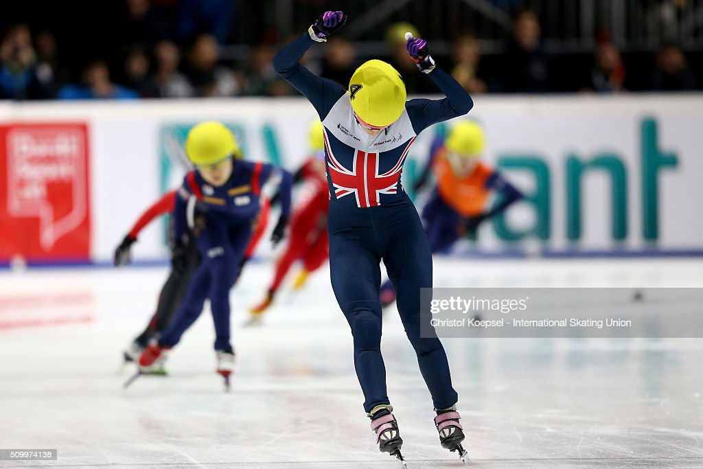 <a gi-track='captionPersonalityLinkClicked' href=/galleries/search?phrase=Elise+Christie&family=editorial&specificpeople=4113885 ng-click='$event.stopPropagation()'>Elise Christie</a> of Great Britain celebrates her victory during the ladies 1000m final A during Day 2 of ISU Short Track World Cup at Sportboulevard on February 13, 2016 in Dordrecht, Netherlands.