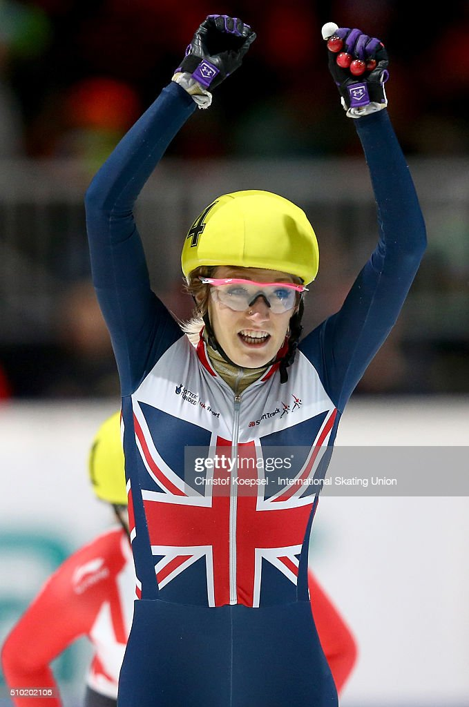 <a gi-track='captionPersonalityLinkClicked' href=/galleries/search?phrase=Elise+Christie&family=editorial&specificpeople=4113885 ng-click='$event.stopPropagation()'>Elise Christie</a> of Great Britain celebrates her victory during the ladies 500m final A during Day 3 of ISU Short Track World Cup at Sportboulevard on February 14, 2016 in Dordrecht, Netherlands.