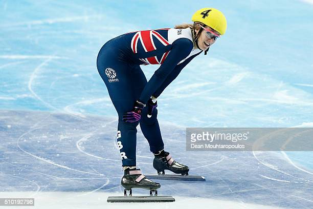 Elise Christie of Great Britain celebrates winning gold in the Womens 500m Final during ISU Short Track Speed Skating World Cup held at The...