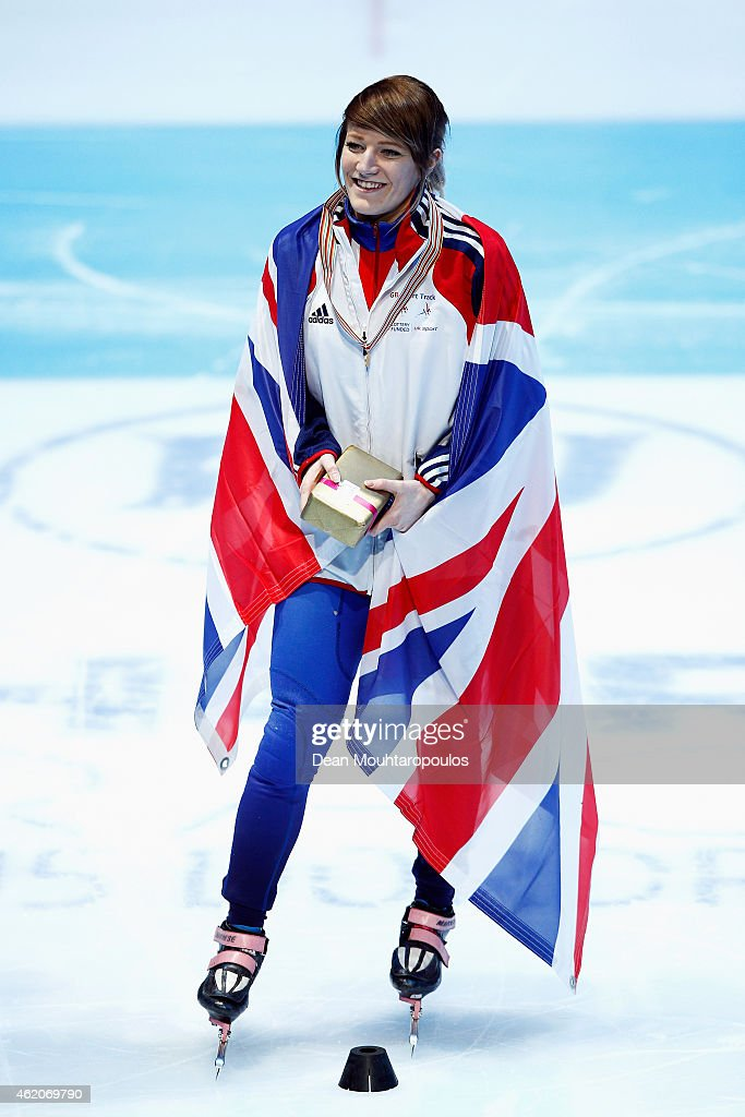 <a gi-track='captionPersonalityLinkClicked' href=/galleries/search?phrase=Elise+Christie&family=editorial&specificpeople=4113885 ng-click='$event.stopPropagation()'>Elise Christie</a> of Great Britain celebrates winning the Womens 1500m final gold medal during day 2 of the ISU European Short Track Speed Skating Championships at The Sportboulevard on January 24, 2015 in Dordrecht, Netherlands.