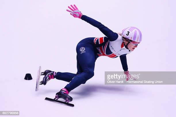 Elise Christie of Great Britain competes in the Ladies 1000m semi finals race during day two of ISU World Short Track Championships at Rotterdam Ahoy...