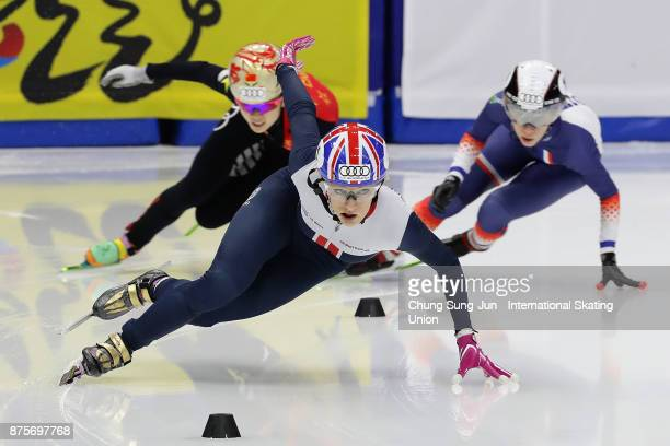 Elise Christie of Great Britain competes in the Ladies 1500 Final B during the Audi ISU World Cup Short Track Speed Skating at Mokdong Ice Rink on...