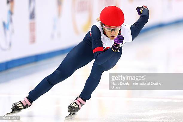 Elise Christie of Great Britain competes in the Ladies' 500m Final on day two of the ISU European Short Track Speed Skating Championships at the...