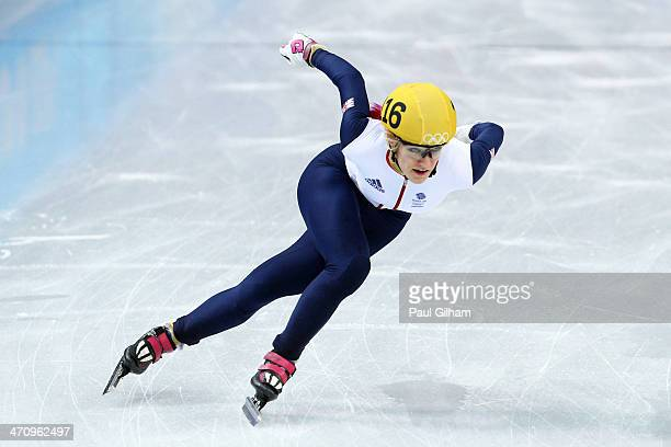 Elise Christie of Great Britain competes in the Short Track Women's 1000m Semifinals on day fourteen of the 2014 Sochi Winter Olympics at Iceberg...