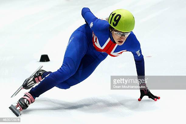 Elise Christie of Great Britain competes in the Womens 1500m semi finals during day 2 of the ISU European Short Track Speed Skating Championships at...