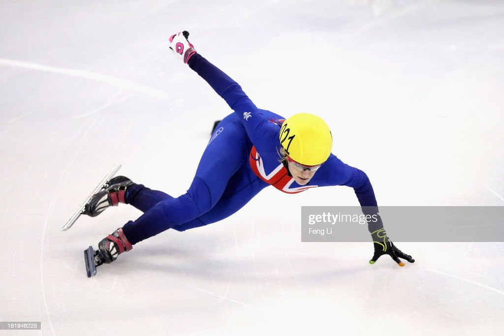<a gi-track='captionPersonalityLinkClicked' href=/galleries/search?phrase=Elise+Christie&family=editorial&specificpeople=4113885 ng-click='$event.stopPropagation()'>Elise Christie</a> of Great Britain competes in the Women's 500m Pre-Preliminaries during day one of the 2013/14 Samsung ISU World Cup Short Track at the Oriental Sports Center on September 26, 2013 in Shanghai, China.
