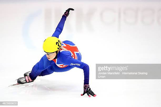 Elise Christie of Great Britain competes in the Women's 500m quarterfinals during day 2 of the ISU World Cup Short Track Speed Skating on February 8...
