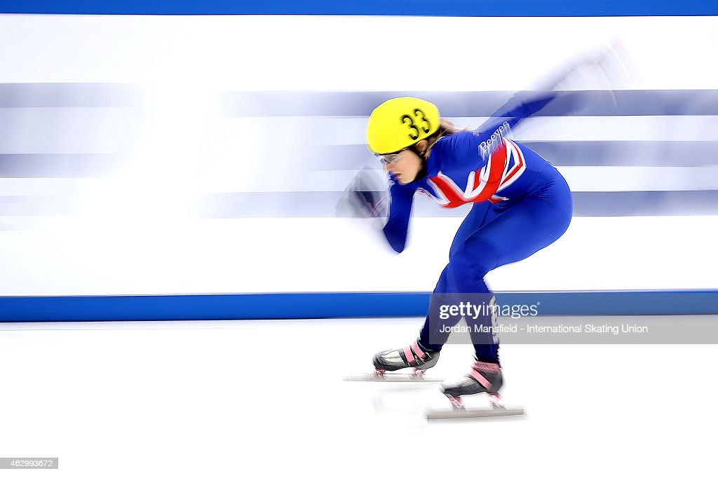 <a gi-track='captionPersonalityLinkClicked' href=/galleries/search?phrase=Elise+Christie&family=editorial&specificpeople=4113885 ng-click='$event.stopPropagation()'>Elise Christie</a> of Great Britain competes in the Women's 500m quarter-finals during day 2 of the ISU World Cup Short Track Speed Skating on February 8, 2015 in Dresden, Germany.
