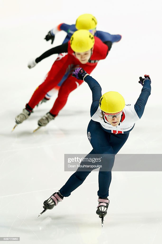 <a gi-track='captionPersonalityLinkClicked' href=/galleries/search?phrase=Elise+Christie&family=editorial&specificpeople=4113885 ng-click='$event.stopPropagation()'>Elise Christie</a> of Great Britain competes in the womens 500m Heat during ISU Short Track Speed Skating World Cup held at The Sportboulevard on February 12, 2016 in Dordrecht, Netherlands.