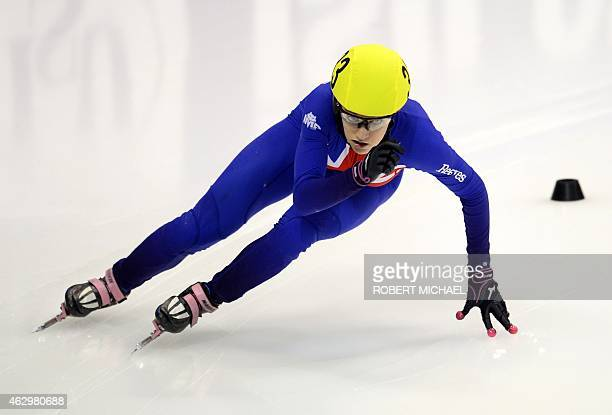 Elise Christie of Great Britain competes in the women's 500m quarter final race of the ISU World Cup short track speed skating event in Dresden...