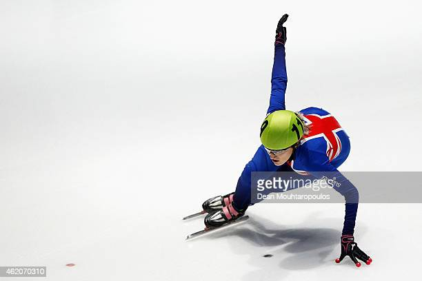 Elise Christie of Great Britain competes on her way to winning the Womens 1500m final gold medal during day 2 of the ISU European Short Track Speed...