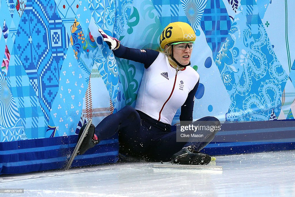 <a gi-track='captionPersonalityLinkClicked' href=/galleries/search?phrase=Elise+Christie&family=editorial&specificpeople=4113885 ng-click='$event.stopPropagation()'>Elise Christie</a> of Great Britain falls as she competes in the Short Track Speed Skating Ladies' 500 m Final on day 6 of the Sochi 2014 Winter Olympics at at Iceberg Skating Palace on February 13, 2014 in Sochi, Russia.