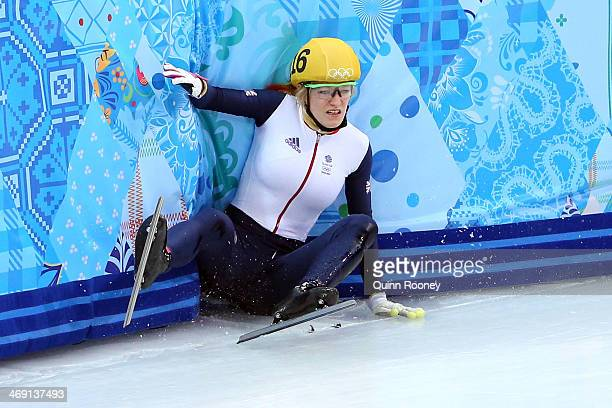Elise Christie of Great Britain falls as she competes in the Short Track Speed Skating Ladies' 500 m Final on day 6 of the Sochi 2014 Winter Olympics...