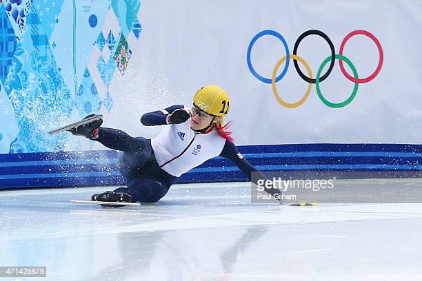 Elise Christie of Great Britain falls while competing in the Short Track Women's 1000m Semifinals on day fourteen of the 2014 Sochi Winter Olympics...