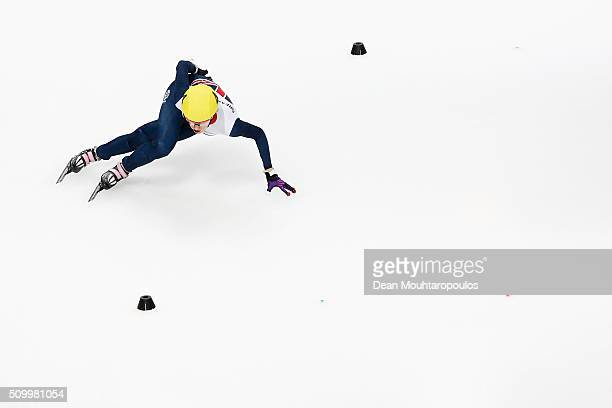 Elise Christie of Great Britain leads and wins her womens 1000m quarter final during ISU Short Track Speed Skating World Cup held at The...