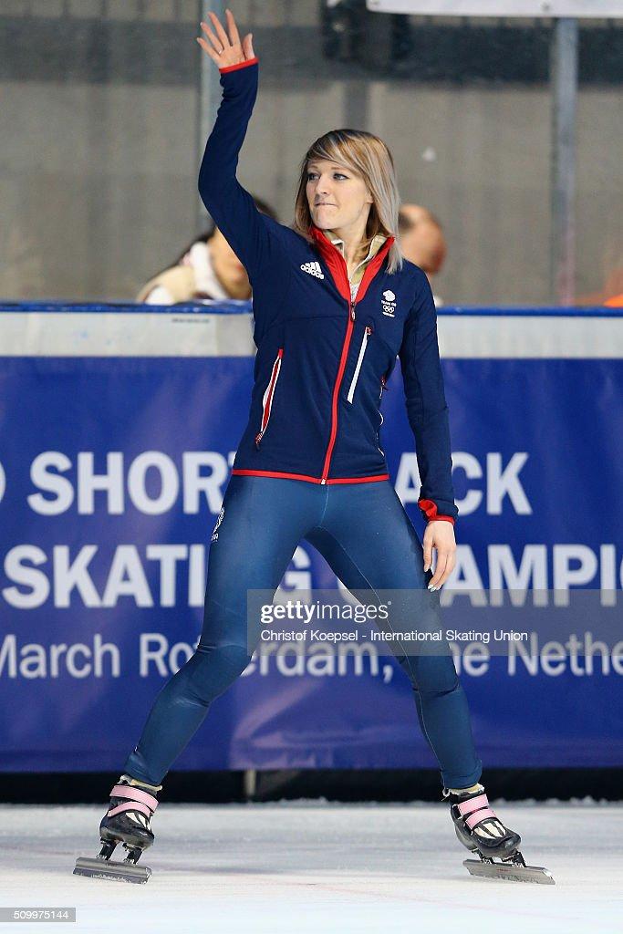 <a gi-track='captionPersonalityLinkClicked' href=/galleries/search?phrase=Elise+Christie&family=editorial&specificpeople=4113885 ng-click='$event.stopPropagation()'>Elise Christie</a> of Great Britain poses during the medal ceremony after winning the 1st place of the ladies 1000m final A during Day 2 of ISU Short Track World Cup at Sportboulevard on February 13, 2016 in Dordrecht, Netherlands.