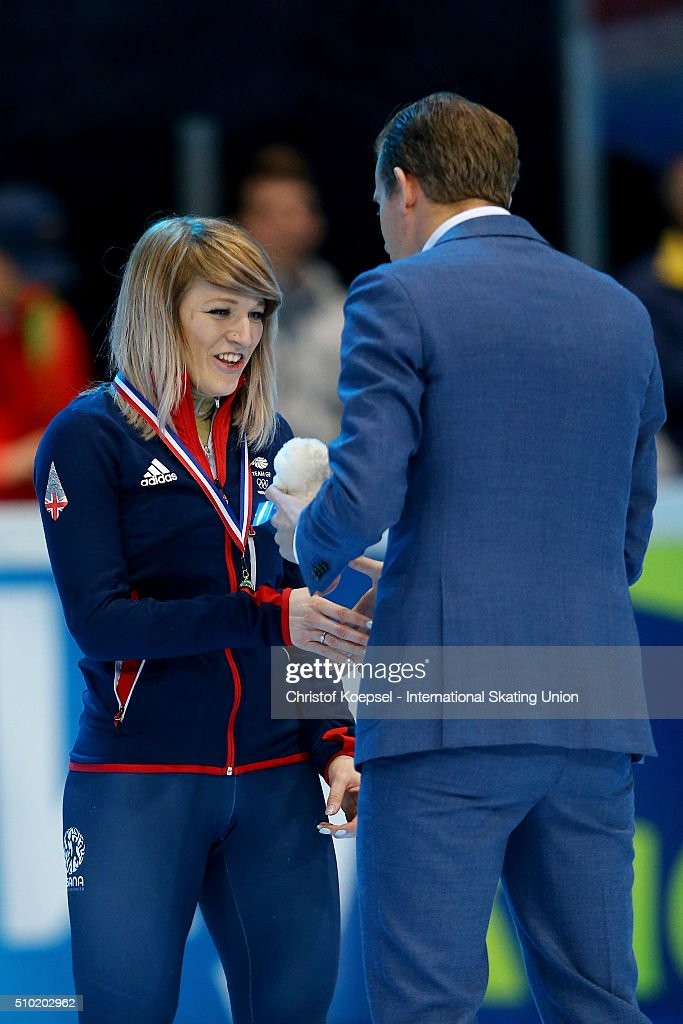 <a gi-track='captionPersonalityLinkClicked' href=/galleries/search?phrase=Elise+Christie&family=editorial&specificpeople=4113885 ng-click='$event.stopPropagation()'>Elise Christie</a> of Great Britain poses during the medal ceremony after winning the 1st place of the ladies 500m final A during Day 3 of ISU Short Track World Cup at Sportboulevard on February 14, 2016 in Dordrecht, Netherlands.