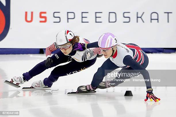 Elise Christie of Great Britain pushes off of Minjeong Choi of Korea during in the Ladies 500 meter Semifinals during the ISU World Cup Short Track...