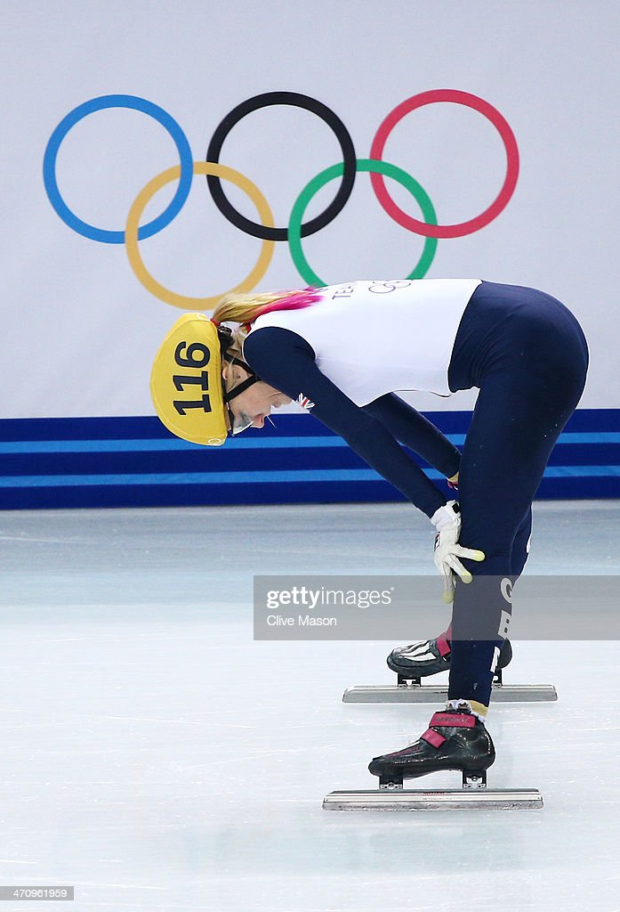 <a gi-track='captionPersonalityLinkClicked' href=/galleries/search?phrase=Elise+Christie&family=editorial&specificpeople=4113885 ng-click='$event.stopPropagation()'>Elise Christie</a> of Great Britain reacts after competing in the Short Track Women's 1000m Semifinals on day fourteen of the 2014 Sochi Winter Olympics at Iceberg Skating Palace on February 21, 2014 in Sochi, Russia.