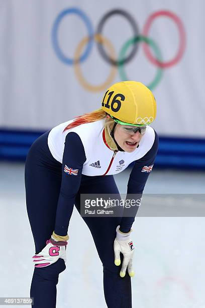 Elise Christie of Great Britain reacts after the Short Track Speed Skating Ladies' 500 m Final on day 6 of the Sochi 2014 Winter Olympics at at...