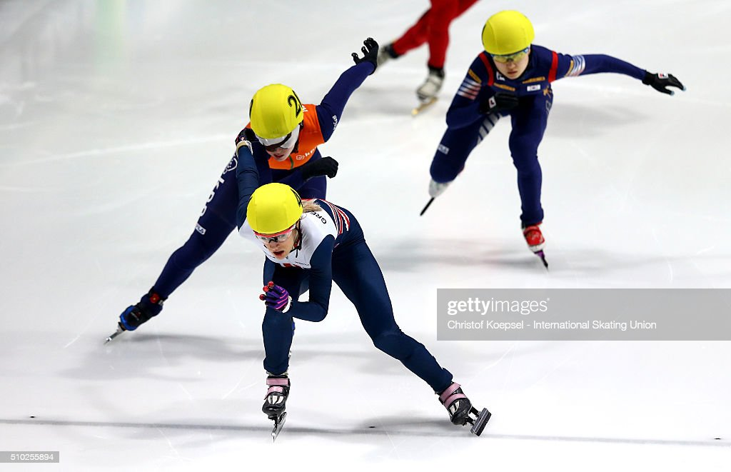 <a gi-track='captionPersonalityLinkClicked' href=/galleries/search?phrase=Elise+Christie&family=editorial&specificpeople=4113885 ng-click='$event.stopPropagation()'>Elise Christie</a> of Great Britain skates during ladies 500m semifinal heat two during Day 3 of ISU Short Track World Cup at Sportboulevard on February 14, 2016 in Dordrecht, Netherlands.