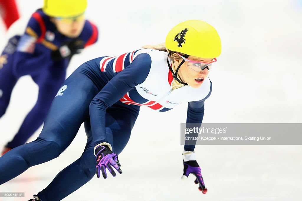 <a gi-track='captionPersonalityLinkClicked' href=/galleries/search?phrase=Elise+Christie&family=editorial&specificpeople=4113885 ng-click='$event.stopPropagation()'>Elise Christie</a> of Great Britain skates during the ladies 1000m final A during Day 2 of ISU Short Track World Cup at Sportboulevard on February 13, 2016 in Dordrecht, Netherlands.