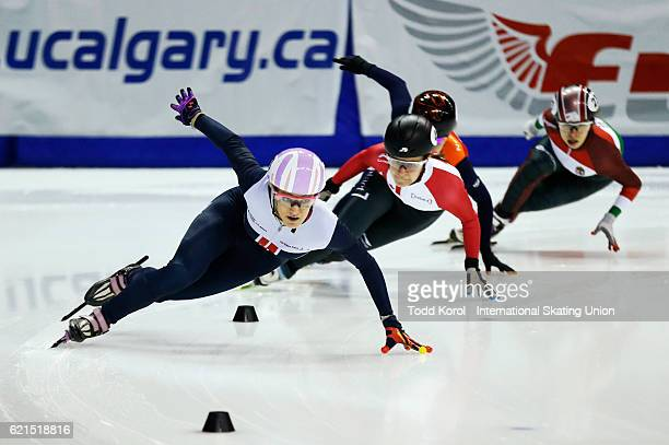 Elise Christie of Great Britain skates to a first place finish in the women's 500 meter final during the ISU World Cup Short Track Speed Skating...