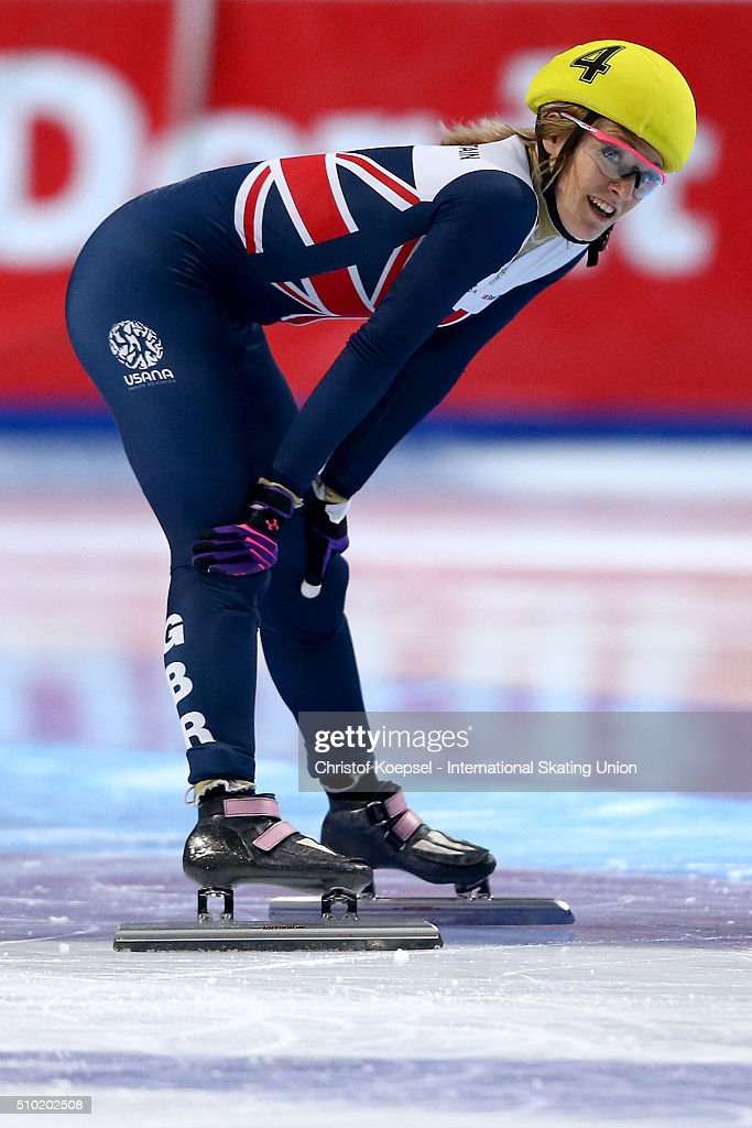 <a gi-track='captionPersonalityLinkClicked' href=/galleries/search?phrase=Elise+Christie&family=editorial&specificpeople=4113885 ng-click='$event.stopPropagation()'>Elise Christie</a> of Great Britain smiles after winning the ladies 500m final A during Day 3 of ISU Short Track World Cup at Sportboulevard on February 14, 2016 in Dordrecht, Netherlands.
