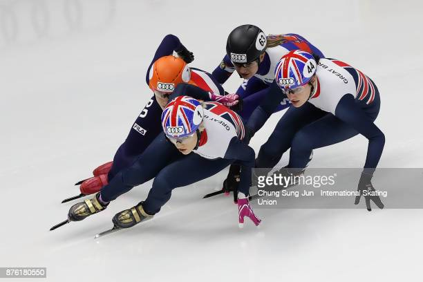 Elise Christie of Great Britain Suzanne Schulting of Netherlands and Charlotte Gilmartin of Great Britain compete in the Ladies 1000m Quarterfinals...