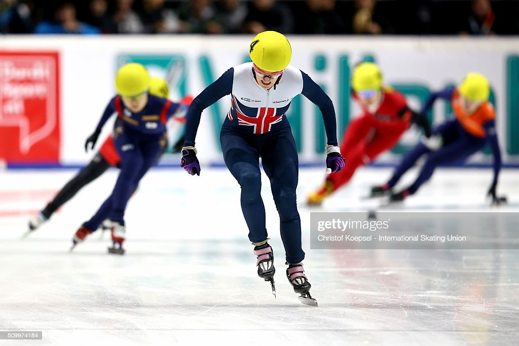 <a gi-track='captionPersonalityLinkClicked' href=/galleries/search?phrase=Elise+Christie&family=editorial&specificpeople=4113885 ng-click='$event.stopPropagation()'>Elise Christie</a> of Great Britain touches the finish line during the ladies 1000m final A during Day 2 of ISU Short Track World Cup at Sportboulevard on February 13, 2016 in Dordrecht, Netherlands.