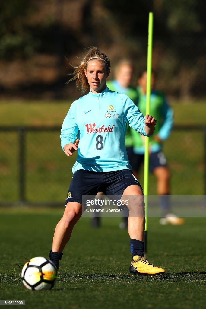 Elise Kellond-Knight of the Matildas passes during a Matildas training session on September 14, 2017 in Sydney, Australia.