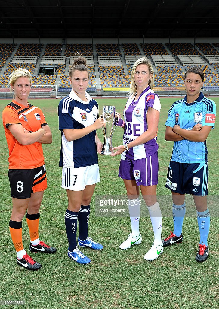 Elise Kellond-Knight of the Roar, Stephanie Catley of th Victory, Carly Telford of the Glory and Samantha Kerr Sydney FC pose during the W-League FFA finals series launch at Queensland Sport and Athletics Centre on January 15, 2013 in Brisbane, Australia.