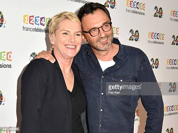 Elise Lucet and Frederic Lopez attend France Television presents its programs 20162017 at France Television studios on June 29 2016 in Paris France
