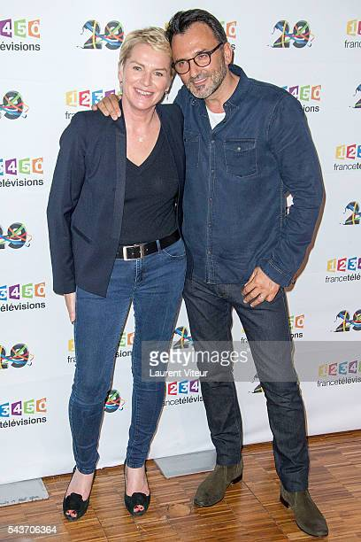 Elise Lucet and Frederic Lopez attend the 'Rendezvous du 29' Photocall at France Television on June 29 2016 in Paris France