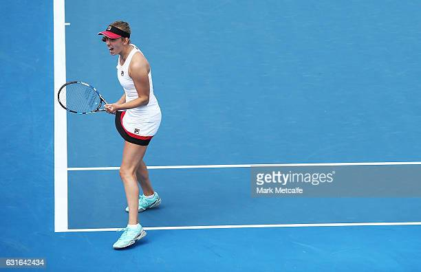 Elise Mertens of Belgium celebrates winning a point in her singles final match against Monica Niculescu of Romania during the 2017 Hobart...