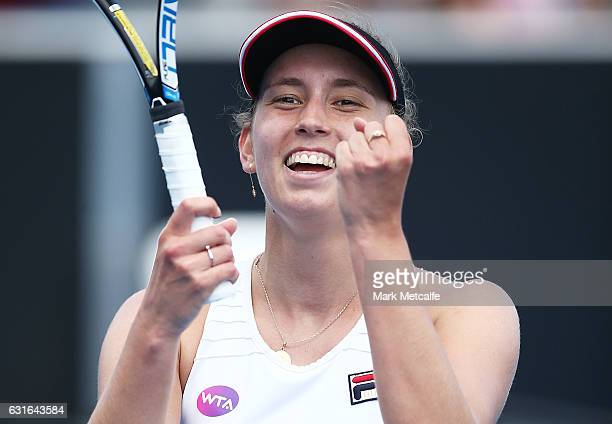 Elise Mertens of Belgium celebrates winning match point in her singles final match against Monica Niculescu of Romania during the 2017 Hobart...