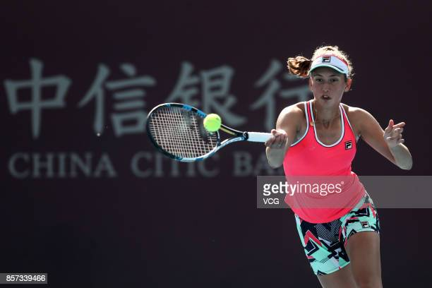 Elise Mertens of Belgium competes during the Women's singles second round match against Caroline Garcia of France on day five of the 2017 China Open...
