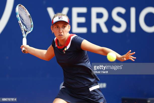 Elise Mertens of Belgium in action against Alison Riske of United States of America in the first round during the WTA Nuernberger Versicherungscup on...