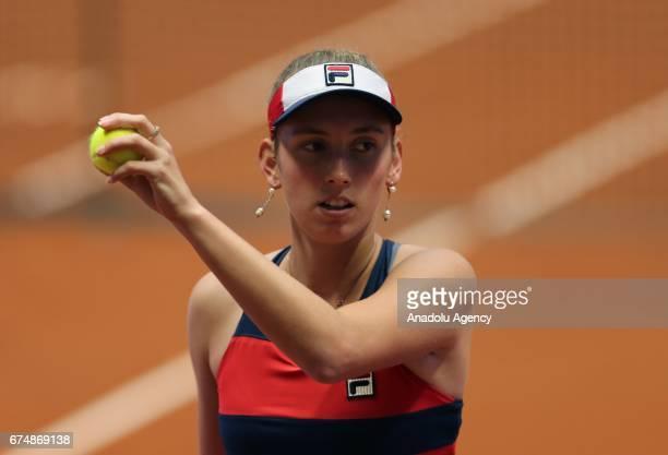 Elise Mertens of Belgium in action against IrinaCamelia Begu of Romania during their TEB BNP Paribas Istanbul Cup Women's tennis match at Garanti...