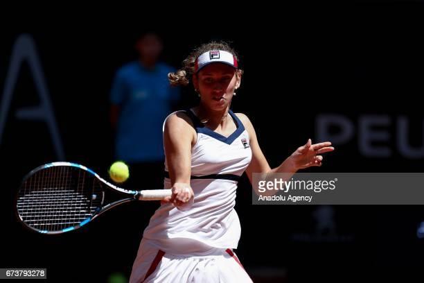 Elise Mertens of Belgium in action against Sara Errani of Italy during the TEB BNP Paribas Istanbul Cup women's tennis match at Garanti Koza Arena in...