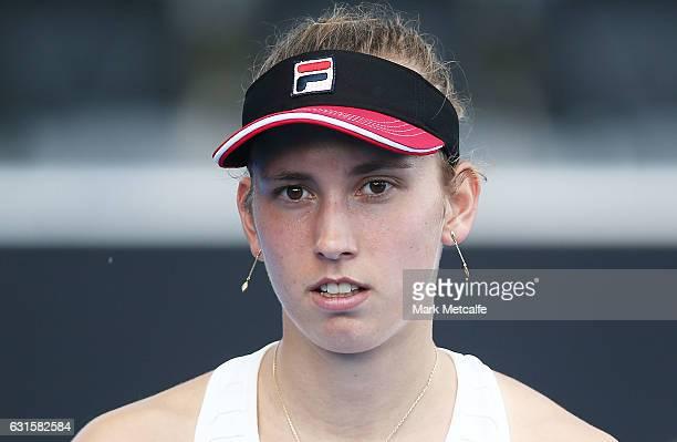 Elise Mertens of Belgium looks on during her semi final match against Jana Fett of Croatia during the 2017 Hobart International at Domain Tennis...