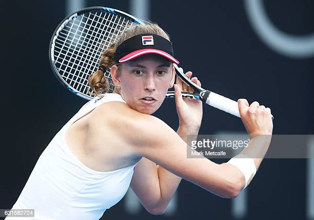 Elise Mertens of Belgium plays a backhand in her semi final match against Jana Fett of Croatia during the 2017 Hobart International at Domain Tennis...